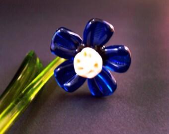 Blue Glass flowers figurine blown flower sculpture art glass flower murano toys big garden flower miniatures figure toys flowers gift for