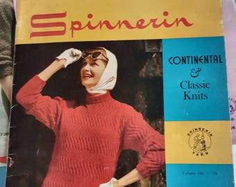 1958 Spinnerin Continental and Classic Knits Original Knitting Pattern Book NOT a PDF