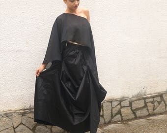 Maxi Black Party Skirt, Elegant Flare Cocktail Skirt, Stylish Princess Skirt, Highwaisted Skirt