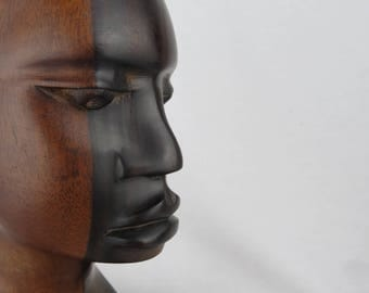 African Boy Man Ebony Statue, Tribal Carving, Hand Carved Ebony Wood, African Man Art Sculpture Figurine, Africa Wood Bust