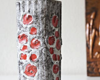 Rectangular vase, made by Strehla, Germany. Fat Lava. Midcentury modern