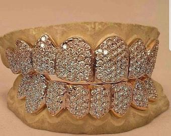 "10k ""Diamond"" Grillz, SI1-VVS1 Diamond Teeth, Diamond Grillz, Diamond Slugs 10k- Platinum Price is PER TOOTH! *Custom Orders Available*"