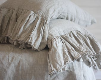 linen shabby chic pillows, Linen Pillowcases with ruffles and ties, Standard Queen King size pillowcase