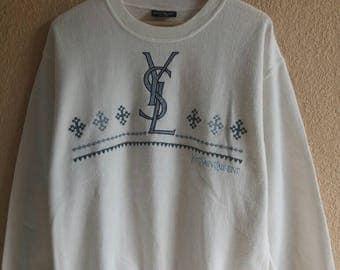 Rare!! YSL Yves Saint Laurent Paris big spellout logo sweatshirt / sweater / pullover
