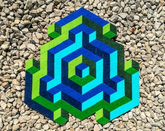 Op-Art I. - handmade mosaic stickers with recycled textile materials by caraWonga