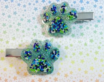 Ocean Colored Sprinkle Mermaid Kitten/Puppy Paws Hair Clips