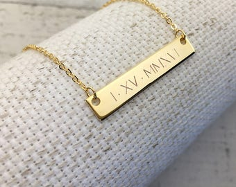 Same Day Shipping til 3 p.m EST,Roman Numerals Necklace,Wedding Date Engraving,date Engraving,Personalized,Anniversary gift,Christmas gift