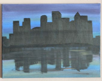 Original Acrylic painting, Canvas art, Cityscape, Wall art, home decor