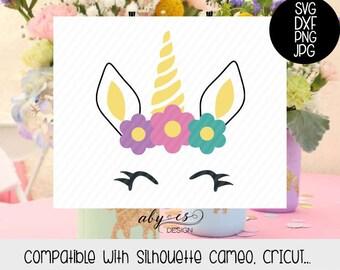 Unicorn SVG, unicorn face, Dxf, Png, Jpg, Silhouette, Cricut, cut files, unicorn clipart