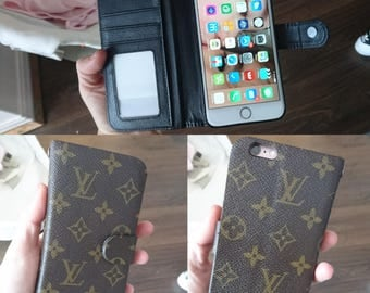 Louis Vuitton Phone Folio Wallet. Upcycled using authentic LV monogram canvas. IPhone X 8 Plus 7 Plus 6 5. Range of Colours Available