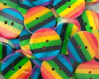 5 x Rainbow Buttons - 24L 28L 32L Round Striped Rainbow Buttons - Iridescent Back - 15mm 18mm 20mm - LGBT Embellishment - Pride Buttons