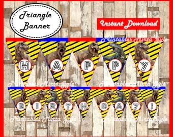 Jurassic Park Banner, printable Jurassic Park party Banner, Jurassic Park triangle Banner