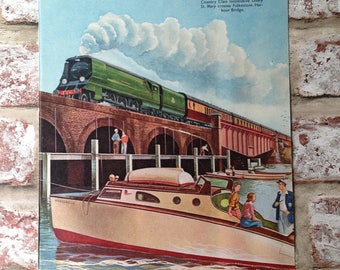 Scene from All About Trains - vintage 1951 train boat themed 8x10 ready to frame illustration - retro, bedroom, decoration, print