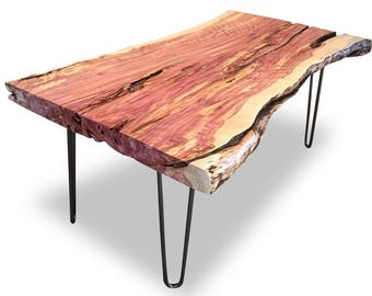 Live Edge Hairpin Leg Slab Coffee Table, Raw Edge, Hairpin Table, Natural  Wood