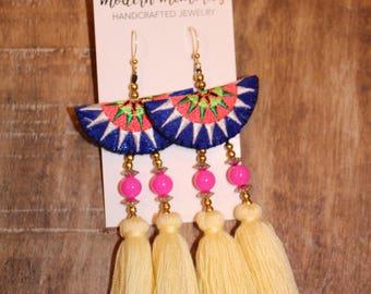Boho Cotton Tassel Earrings   White Tassel Earrings   Colorful Boho Earrings, Tassel Dangle Earrings, Tribal Earrings