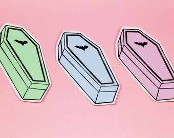 Pastel Coffin Halloween Vinyl Sticker