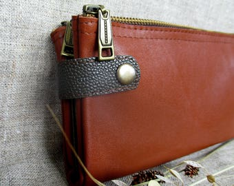 Womens Leather wallet zipper card holder clutch bag wallet