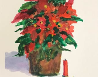Poinsettia with Candle - Original Watercolor Sketch -  5 x 7