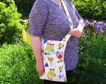 Ollie Owl peg bag - shoulder bag - free hands washing bag - cross chest or over the shoulder