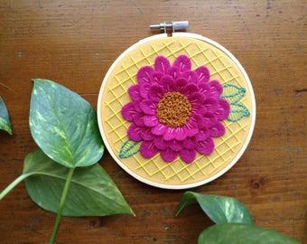 Pink Flower Hoop