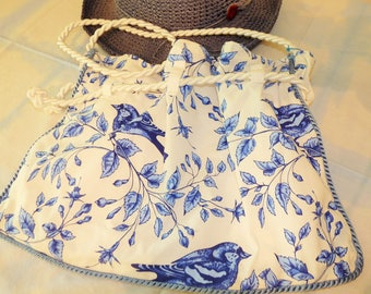 Bluebird drawstring purse with whte satin rope.  All cotton washable