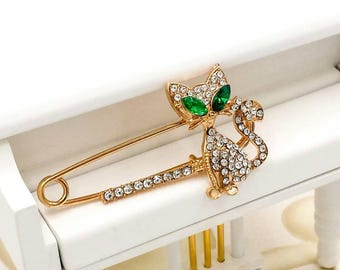 Kitten Brooch, Rhinestone Kitty Pin, Little Cat Brooches, Emerald Gold Cat Brooch, Gift for Her