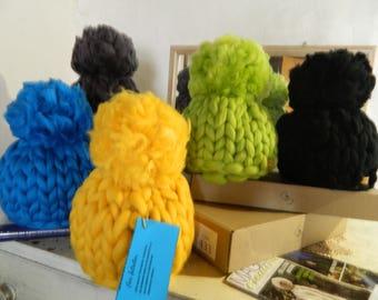 Giant Pompom Hat, Women Winter Hat, Merino Chunky Beanie Hat, Oversize Wool Hat, Tick Pompom Hat, Gift for her, Womens Gift, Christmas Gift.
