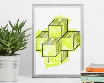 Cube Printable Art - DIN A4 Cube Geometric Shape 8x10 Green Yellow - Geometric Printable, Geometric Poster