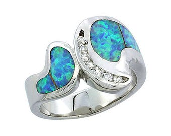 Sterling Silver Blue Opal Statement Ring CZ Accent