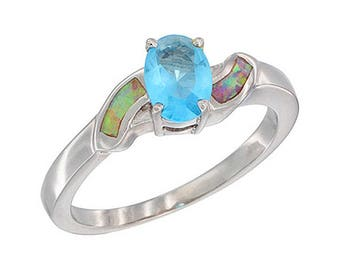 Sterling Silver Pink Opal Solitaire Ring Blue Topaz