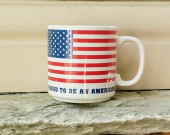 vintage flag mug 'Proud To Be An American', Papel Freelance, patriotic American flag coffee cup, Independence Day, 4th of July mug
