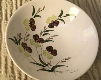 Vintage Blue Ridge bowl-Sunny Spray-hand painted-underglaze-Souther Potteries Inc-made in USA 4052-white-flowers-green-purple-antique