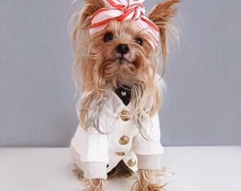DOG SWEATER, Dog formal sweater, dog button up sweater, dog designer sweater, dog ivory sweater