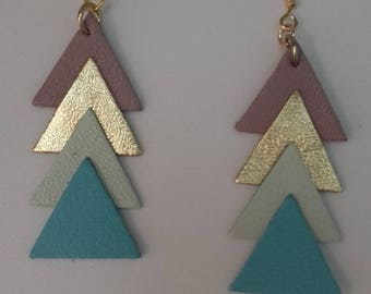 """""""Triangles""""ethnic""""leather earrings * shades of green and gold"""""""