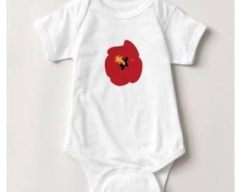 Summer Red Hibiscus Baby Bodysuit_White