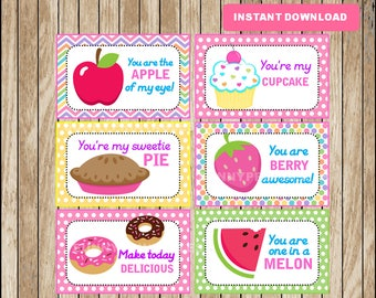 Printable Fruit Lunchbox Notes instant download, Cupcakes Lunch Box Notes, Printable School Notes
