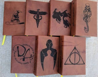 NEW-Leather Bound and Lasered Hardback Harry Potter Book Set 2- U.S. Edition