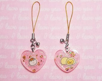 Gudetama Lazy Egg Pink Heart Charm With Gold Glitter Phone Strap