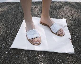 Vintage Jil Sander White Leather Woven Sandal Flat Slippers Shoes