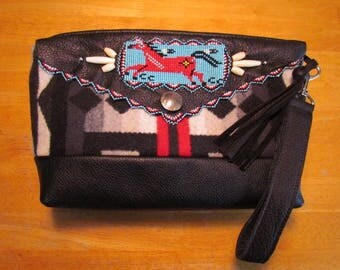 Native American Beaded Clutch Purse Wrist Bag made with Pendleton® Wool and Leather Beaded Wrist Clutch Zipper Purse Beaded Bag Beadwork