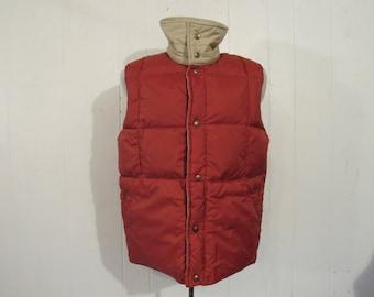 Vintage vest, vintage coat, down vest, reversible vest, 1970s ski vest, vintage clothing, medium