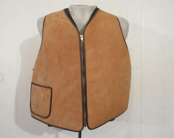 Vintage vest, vintage clothing, leather vest, shearling vest, 1950s vest, XL