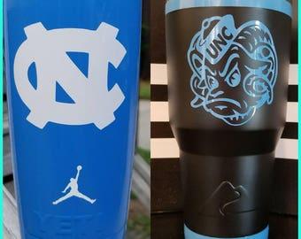 Custom UNC Tar Heels Logo YETI Rambler 30oz. TarHeels Blue or Pick a Color