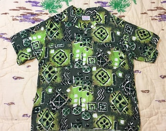 1950s South Pacific Hand-Screened Hawaiian Shirt