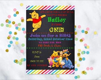 Winnie the Pooh invitation, printable download, Winnie the Pooh birthday