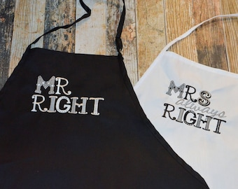 Mr Right and Mrs. Always Right Wedding Gift Aprons - Personalized with Bride and Groom's First or Last name - Many Colors of Aprons