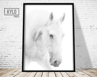 Horse Print, Digital Print, Horse Printable, Home Decor, Minimalist Art, Horse Art, Poster, Animal Photography, Animal Print, Printable Art