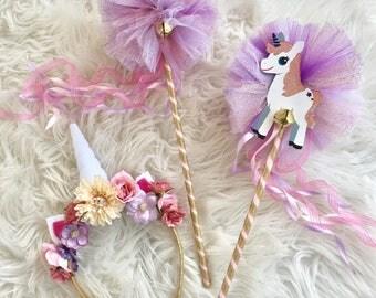 Unicorn headband - unicorn wand- wand and headband set- flower unicorn headband
