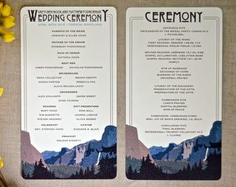 Yosemite Tunnel View Craftsman // Ceremony Program for Wedding // Summer Mountain Landscape // BP1
