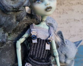 Monster High OOAK Frankie Stein Repaint with Custom Handmade Striped Romper, T-shirt, and Matching Socks. Super Life-like and Cute!